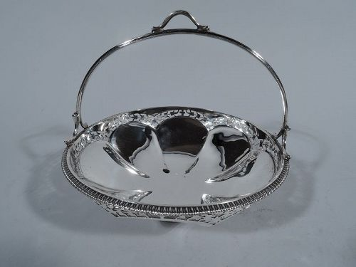 Antique English Edwardian Sterling Silver Basket