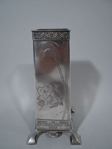 Early Tiffany Japonesque Sterling Silver Vase