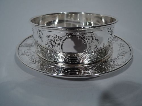 Antique American Edwardian Sterling Silver Circus Cereal Bowl & Plate