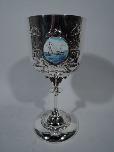 Tall Art Nouveau English Sterling Silver & Enamel Nautical Goblet