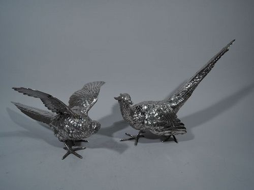 Pair of Large Antique Sterling Silver Pheasants by Marshall Field