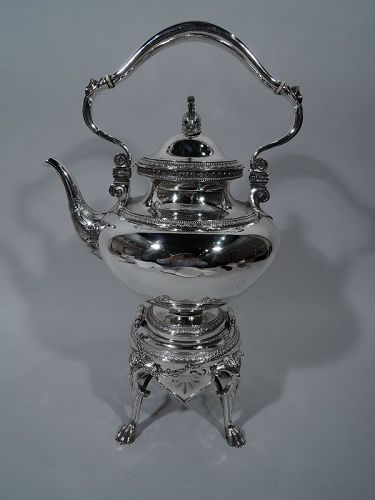 Early Tiffany Sterling Silver Hot Water Kettle on Stand 1865-70