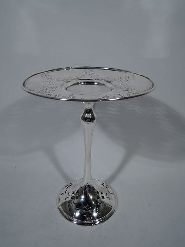 Antique Edwardian Tall and Pierced Sterling Silver Compote by Shreve