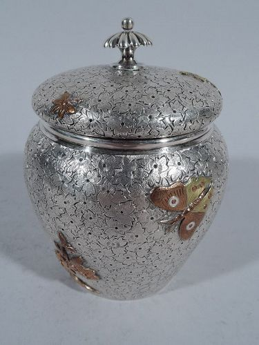 Unusual Dominick & Haff Sterling Silver and Mixed Metal Tea Caddy 1880