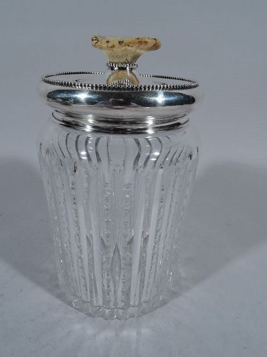 Antique Cut Glass Tobacco Jar with Sterling Silver and Horn Cover
