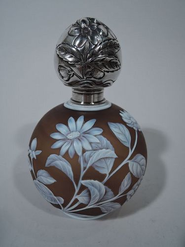 Antique Gorham Topaz Brown Cameo Glass and Sterling Silver Perfume