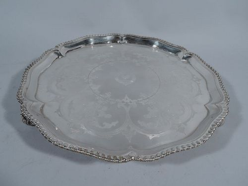 Antique English Georgian Sterling Silver Salver Tray