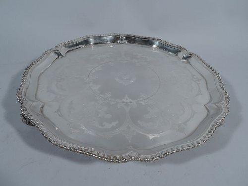Antique English Georgian Sterling Silver Salver Tray