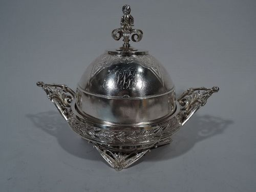 Antique Aesthetic Sterling Silver Butter Dish by Wood & Hughes