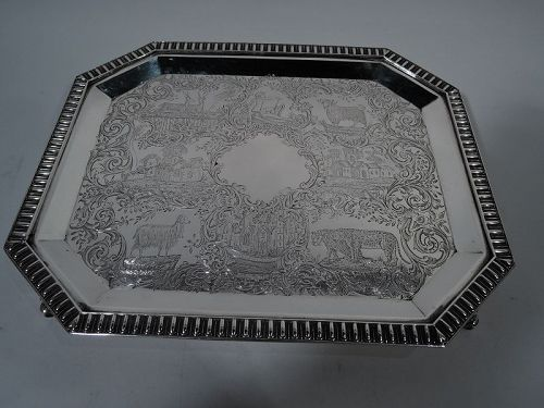 Fine Antique Coin Silver Salver Tray by Gale & Hayden in New York 1848