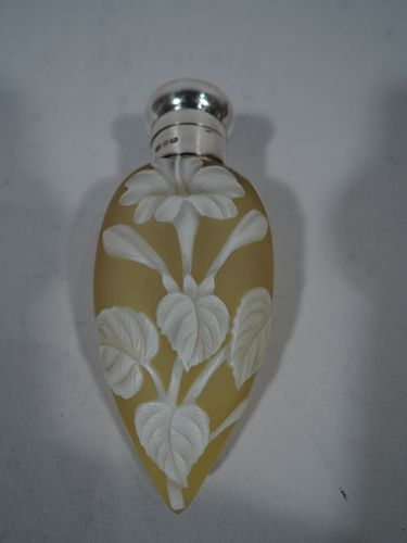 Antique English Cameo Glass & Sterling Silver Lemon Drop Perfume 1896