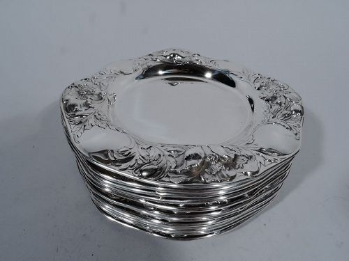 Set of 12 American Art Nouveau Sterling Silver Bread & Butter Plates