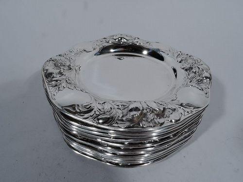 Antique American Art Nouveau Sterling Silver Bread & Butter Plates