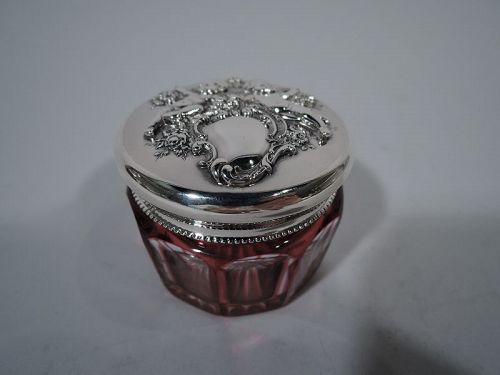 Reed & Barton Art Nouveau Sterling Silver & Red Glass Vanity Jar