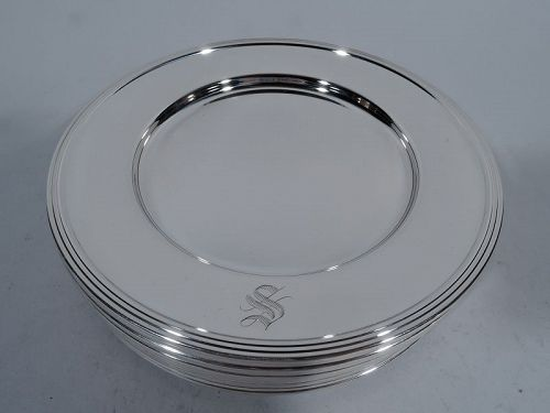 Set of 12 American Modern Sterling Silver Bread & Butter Plates