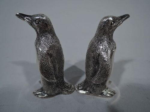 Pair of Tiffany Sterling Silver Waddling Penguin Salt & Pepper Shakers