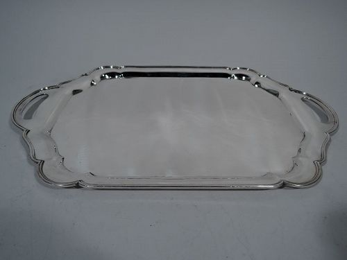 Indian Sterling Silver Serving Tray with Pretty Scrolls