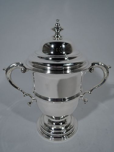 Antique Tiffany Georgian Sterling Silver Covered Urn Trophy Cup