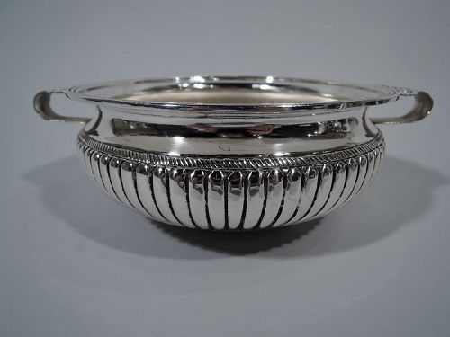 Antique European Silver Bowl with Naïve Flowers
