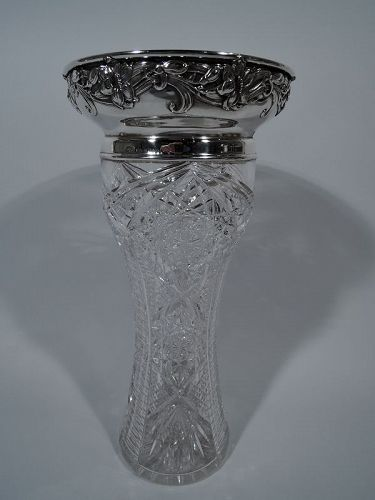 Art Nouveau Brilliant-Cut Glass & Sterling Silver Vase by Gorham 1909