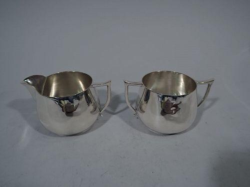 Cartier American Art Deco Sterling Silver Creamer & Sugar
