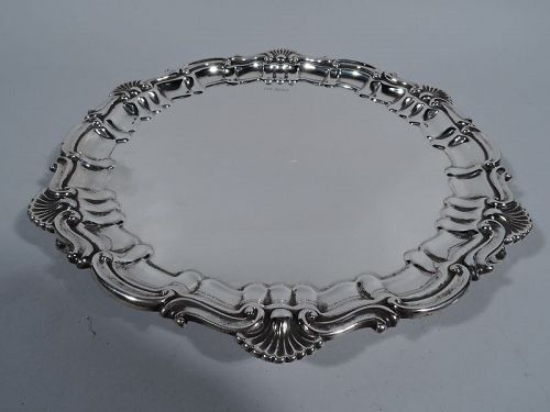 Antique English Georgian Shell & Scroll Sterling Silver Salver Tray