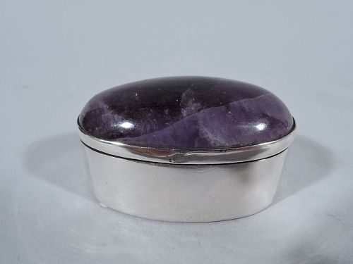 Mexican Modern Sterling Silver and Amethyst Pillbox by Taxco Maker
