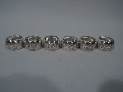 Set of 6 English Art Deco Napkin Rings for Yorkshire Bulldog Club 1912