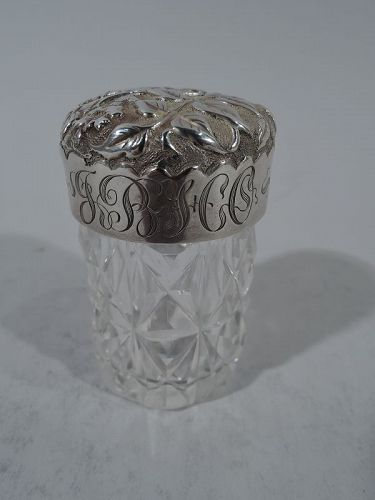 Pretty Antique English Sterling Silver & Glass Vanity Jar 1892