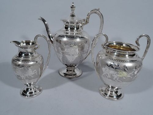 Antique English Greek Revival Sterling Silver Coffee Set 1868