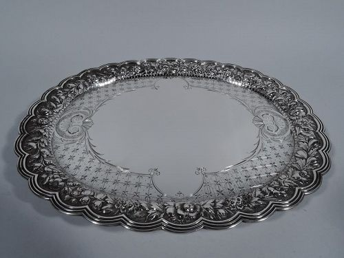 Antique Tiffany Sterling Silver Salver Tray with Repousse Flowers