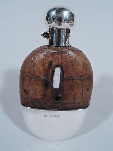 Antique English Sterling Silver Easy-Grip Safari Flask 1899