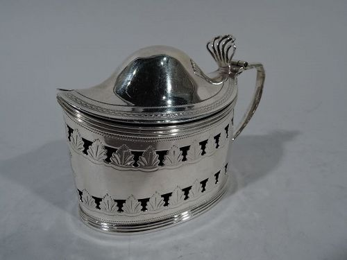 English Neoclassical Sterling Silver Mustard Pot by Bateman 1805