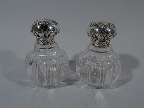 Pair of Pretty Antique English Sterling Silver & Glass Perfumes 1892