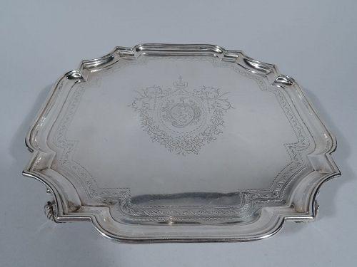 Early English Georgian Sterling Silver Cartouche Salver Tray 1727