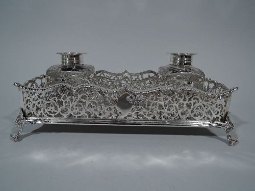 Antique Victorian English Sterling Silver Double Inkstand 1889