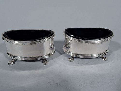 Pair of Antique English Sterling Silver Open Salts 1922