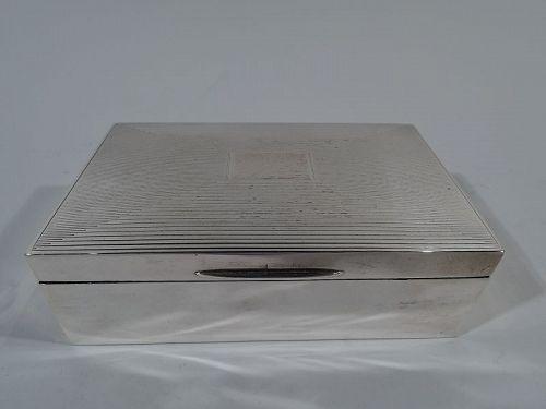 English Art Deco Modern Sterling Silver Box