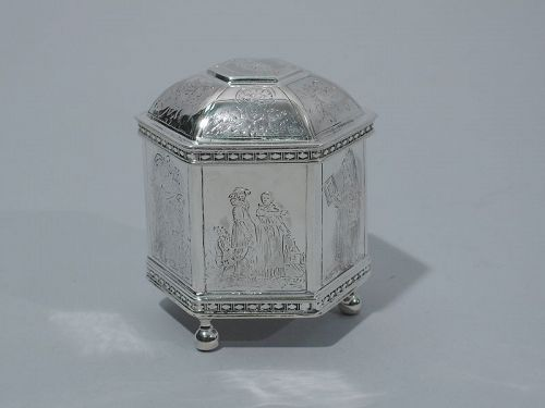 Small Sterling Silver Casket Box with Olden Days Scenes