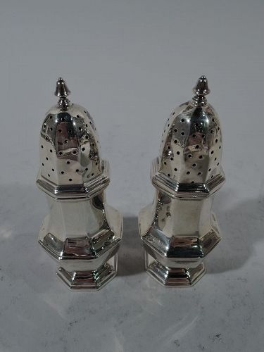 Pair of English Art Deco Sterling Silver Salt & Pepper Shakers