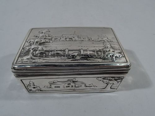 Antique English Georgian Sterling Silver Box with Pastoral Scenes