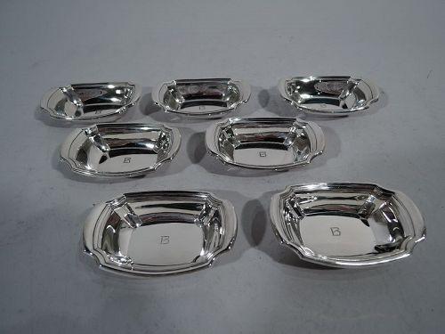 Set of 7 Gorham American Art Deco Modern Sterling Silver Nut Dishes