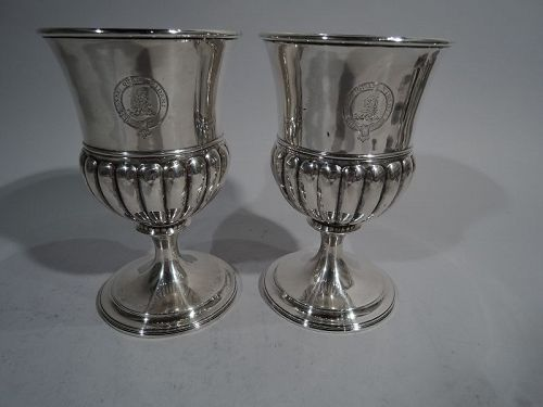 Pair of Antique Scottish Georgian Sterling Silver Goblets 1809