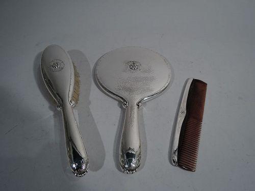 Georg Jensen Hand-Hammered Sterling Silver 3-Piece Vanity Set