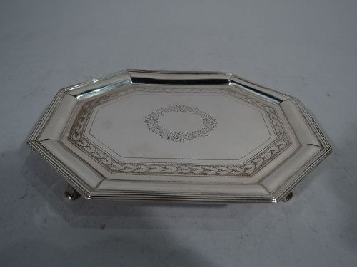 Small Antique English Neoclassical Sterling Silver Salver Tray