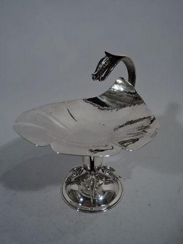 Poul Petersen Modern Hand-Hammered Sterling Silver Leaf Compote