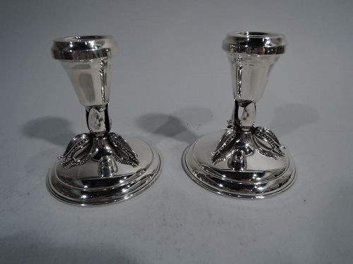 Pair of Poul Petersen Sterling Silver Leaf Candlesticks