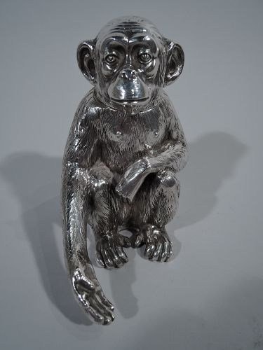 Antique German Silver Box in Form of Friendly Monkey