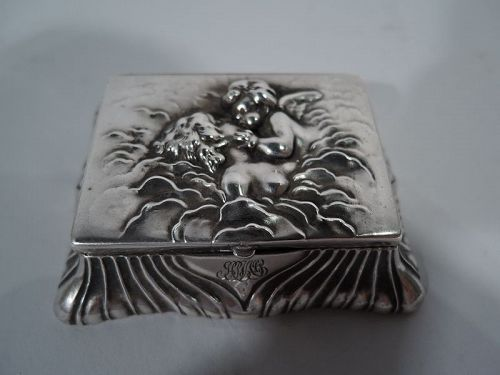 Art Nouveau Sterling Silver Postage Stamp by Desirable Unger Bros