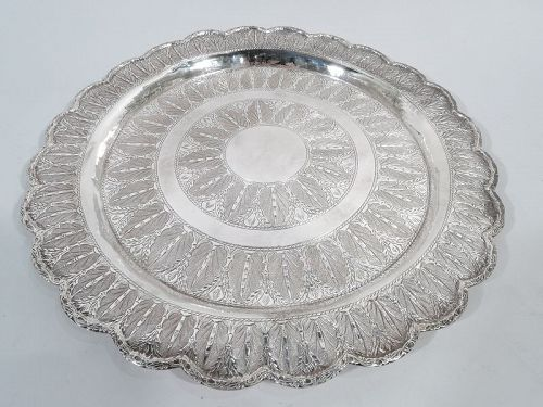 Exotic Egyptian Silver Serving Tray with Scalloped Rim